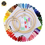 #5: SUBANG Full Set of Embroidery Starter Kit Cross Stitch Tool Kit Including 5 Bamboo Embroidery Hoop, 50 Vivid Color Threads, 12 by 18-Inch 14 Count Classic Reserve Aida and Tool Kit