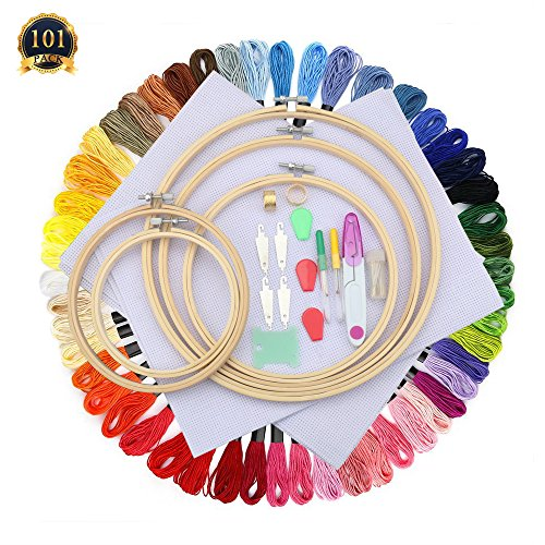 Cross Stitch Kit Set - SUBANG Full Set of Embroidery Starter Kit Cross Stitch Tool Kit Including 5 Bamboo Embroidery Hoop, 50 Vivid Color Threads, 12 by 18-Inch 14 Count Classic Reserve Aida and Tool Kit
