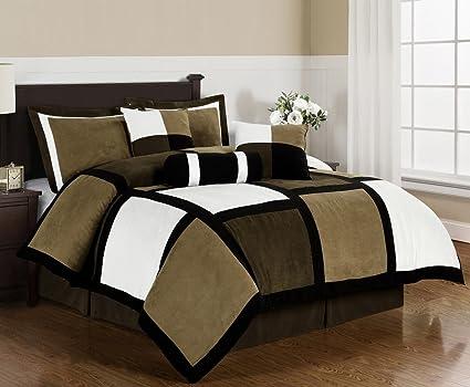 Chezmoi Collection Micro Suede Patchwork 7 Piece Comforter Set, Queen, Black /Brown
