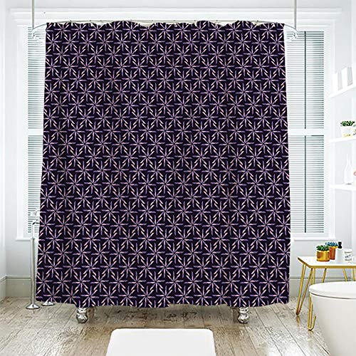 scocici DIY Bathroom Curtain Personality Privacy Convenience,Geometric,Pinwheel Design with Dark Color Palette Abstract Pattern Winter Motifs,Mauve Lavander Purple,108.2