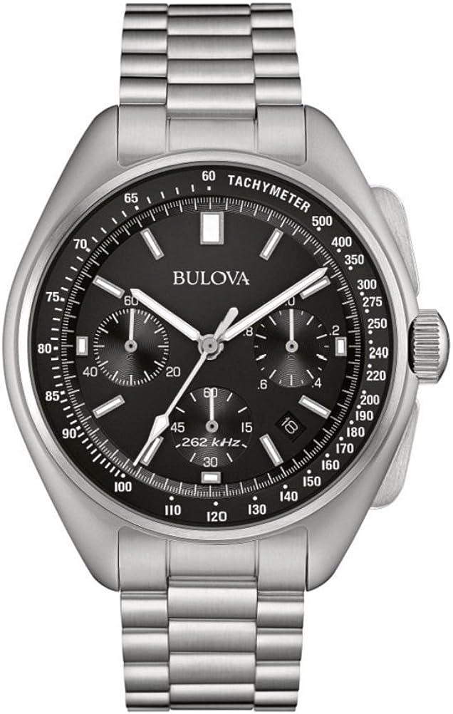 Bulova Piloto Lunar 96B258 - Reloj de Pulsera de diseño para Hombre - Función de cronógrafo - Acero Inoxidable - Esfera Negra