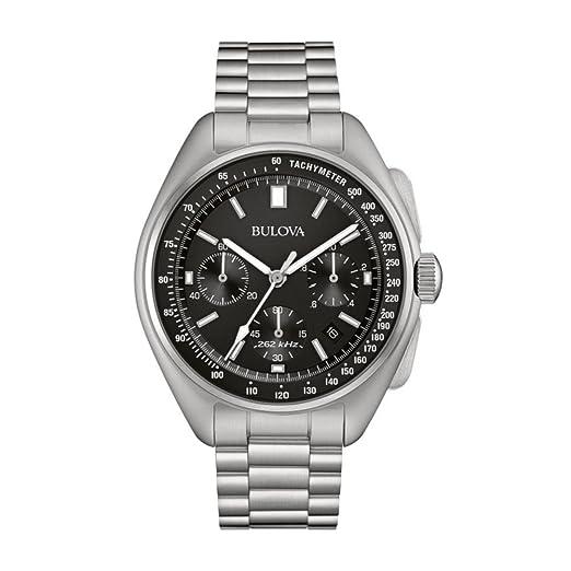 780b58bfe36 Bulova Men s Designer Chronograph Watch Stainless Steel Bracelet - Black  Dial Lunar Pilot Wrist Watch 96B258
