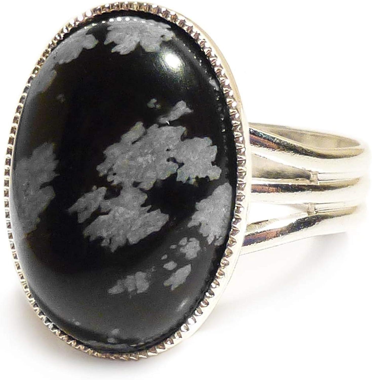 LunarraStar - Anillo para mujer, chapado en plata, ovalado, obsidiana, piedra semipreciosa, 18 x 13 mm, ajustable
