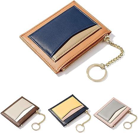 ZhaoCo Portafoglio Donna Arancia Mini Portamonete Zip Borsa Portafogli con Porta Carta di Credito per Donna Ragazza Piccolo in Morbida PU Pelle