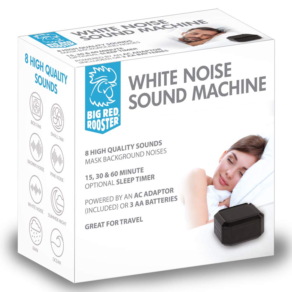 Big Red Rooster 8 Sound White Noise Machine   Sleep Sound Machine for Sleeping   8 Soothing Sounds   White Noise Machine for Office Privacy   Plug in Or Battery Operated   Baby or Travel