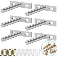 BUZIFU 6 stuks, onzichtbare zwevende plankdragers, 7,62 cm (3 inch), verborgen T-steun, verborgen steun met schroeven en…