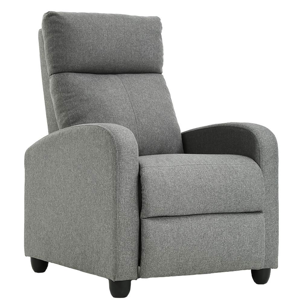 FDW Wingback Recliner Chair Single Modern Sofa Home Theater Seating for Living Room (Gray),