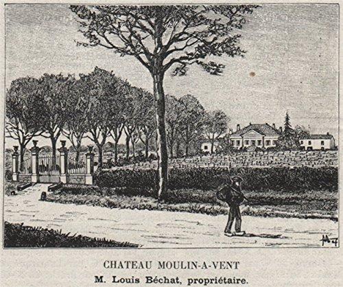 (MÉDOC. MOULIS. Chateau Moulin-a-Vent. Béchat. Bordeaux. SMALL - 1908 - old print - antique print - vintage print - Gironde art prints)