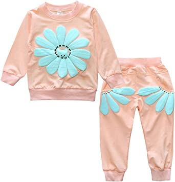 Oushiny Girls Cute Top /& Pants Two-piece Clothing Set 3 Colors For 0-5