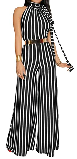 9dfd81c3200d Image Unavailable. Image not available for. Color  Cruiize Women Sleeveless Slim  Striped Wide Leg Palazzo Romper ...