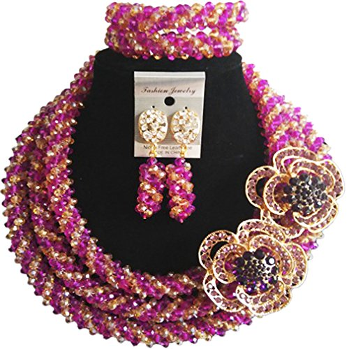 laanc 98% Crystal Women's Jewelry Sets,Party,Gift,Brithday,Multi Use - Nigerian Wedding African Beads (Purple and Gold AB) by laanc
