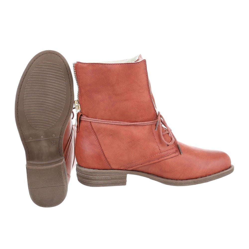 Ital-Design Stiefeletten Damenschuhe Stiefeletten Ital-Design Schnürstiefeletten Rot Orange BH68-KB a0789a