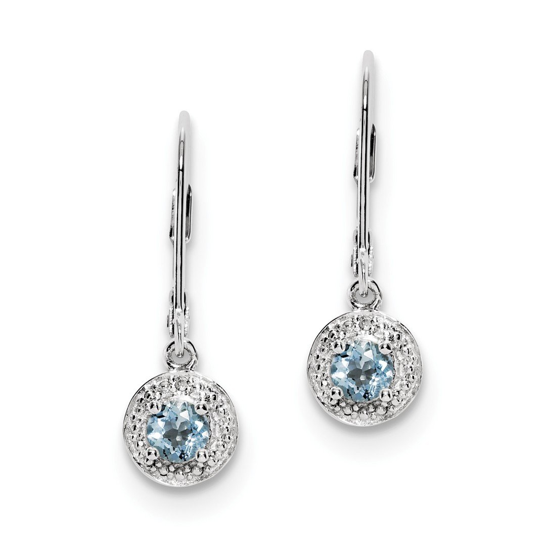 ICE CARATS 925 Sterling Silver Diamond Blue Aquamarine Leverback Earrings Lever Back Drop Dangle Birthstone March Set Fine Jewelry Gift Set For Women Heart