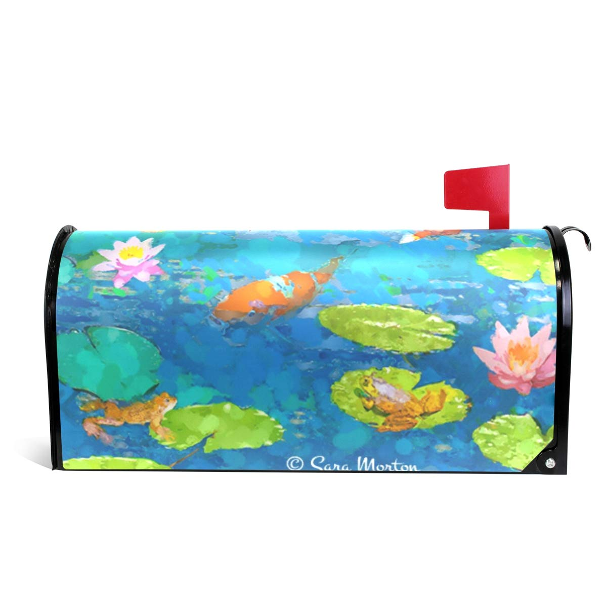 Ladninag Mailbox Covers Magnetic Koi Fish Pond with Lily Standard
