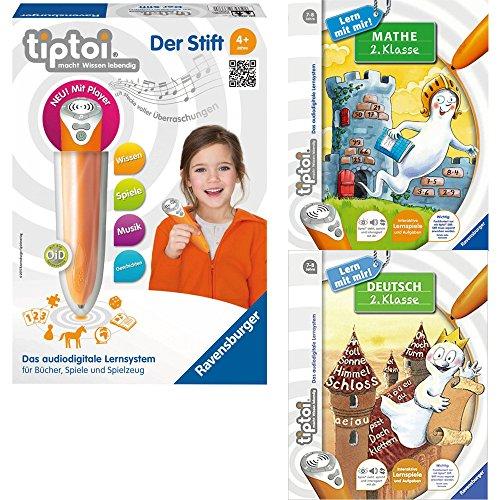 Ravensburger tiptoi® 3-tlg Set 00700 00665 00649 Der Stift + Buch Mathe 2. Klasse & Buch Deutsch 2. Klasse