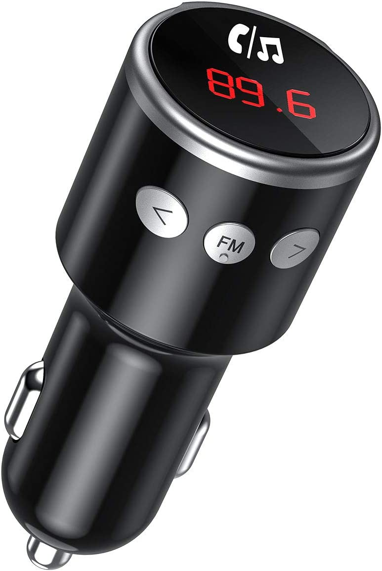 Mini Transmisor FM Coche Bluetooth, Manos Libres Bluetooth para Coche, QC3.0 Dual Cargador USB, Mp3 Reproductor Música para iOS/Android 219BB