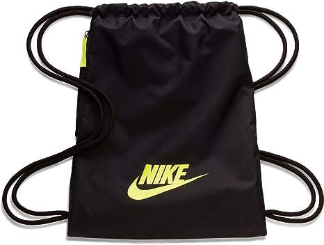 cigarro Sencillez tifón  Amazon.com: Nike Nike Heritage Gym Sack - 2.0, Black/Black/(Lemon Venom),  Misc: Clothing