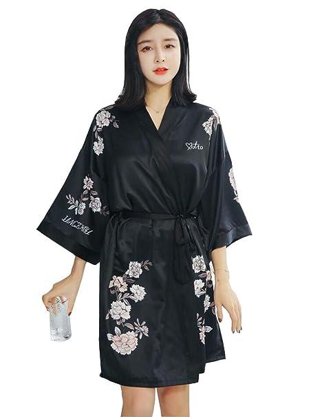 Mujer Batas Elegante Camisones Flor Estampadas con Cinturón Manga Larga Kimono Albornoz Pijama Clásico Mujeres (