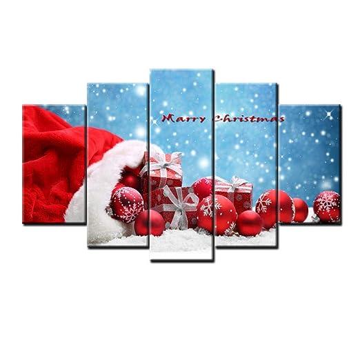 YB Impresión en Lienzo Pintura Cinco hechizos Feliz Navidad ...