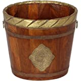 storeindya Wooden Classic Whishky Barrel Garden Pot Planter for Planting Inspired Pail Tube Style Brass Embossed Design Garden Accessory Home Decor for Women Mum Mothers Day