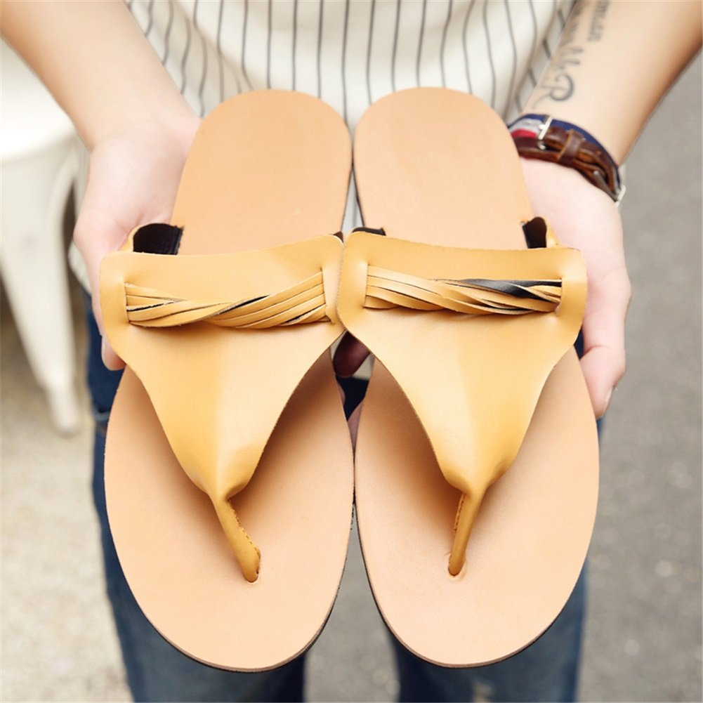 HUAN Men's Sandals Casual Beach Shoes Slippers & Flip-Flops Black, Non-Slip Fashion Summer White, Black, Flip-Flops Brown 39|Brown B07BTN85N1 7c2422