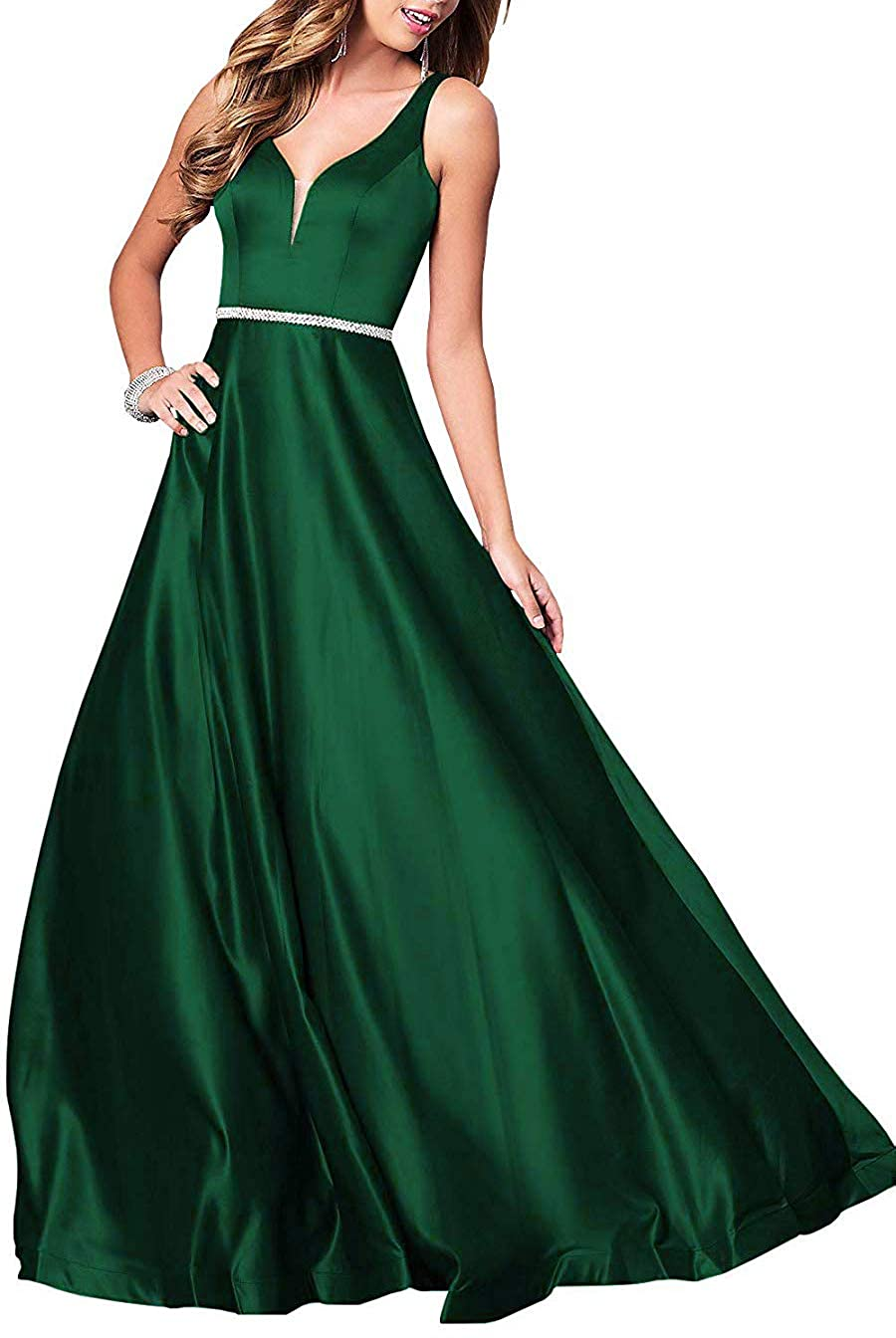 Dark Green Deep VNeck Long Satin Prom Dress with Beaded Pocket Formal Evening Party Gown