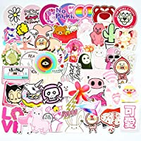 50pcs Cool Pink Cute Girl Sticker for Laptop Phone Computer PC Water Bottle Bike Helmet Car Motorcycle Bumper Luggage Helmet Skateboard Snowboard Waterproof Graffiti Hippie Decals (Cute Girl)