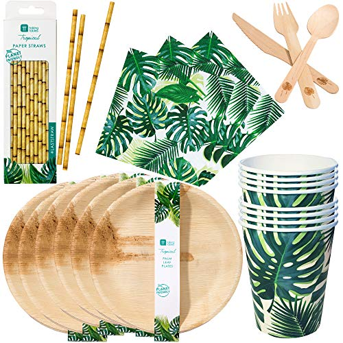 (Talking Tables Tropical Palm Fiesta Dinnerware Bundle | Eco-Friendly, Biodegradable and Compostable Palm Leaf Plates, Paper Straws and Wooden Cutlery, Palm Leaf Print Paper Cups and)