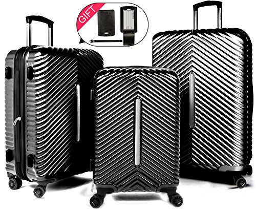 Cheergo PC 3 Piece Hardside Suitcase Luggage Set Expandable Spinner Trolley TSA Lock 20 24 28 inch Black by cheergo