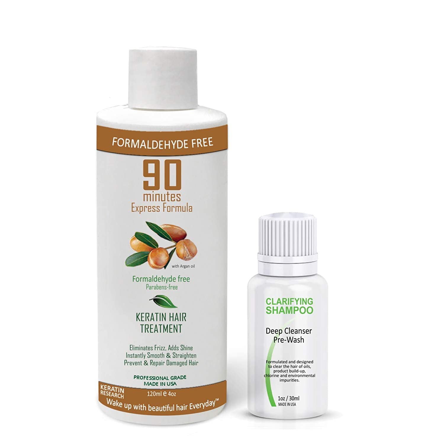 90 MINUTES Brazilian Keratin Hair Treatment Formaldehyde-Free Rich Complex of Protein Blends Coconut & Argan Oil Instant Results Super shiny Soft Straight Hair for months Keratin Research 120ml