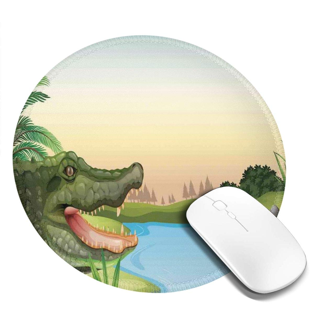 BBLUEEI Round Mouse Pad,Exotic Crocodile At The River with Palm ...