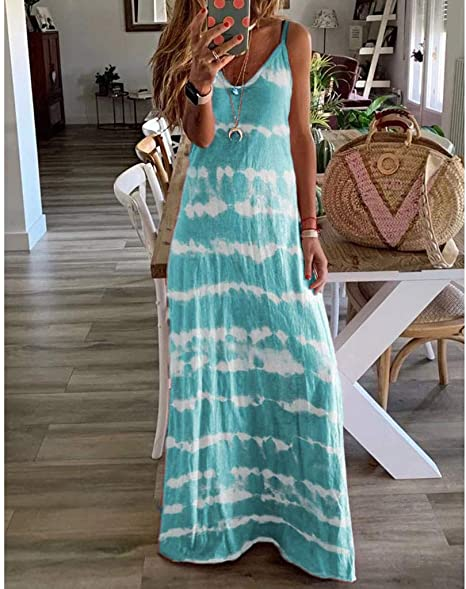 Limsea Plus Size Dresses for Women 2020 Summer Sleeveless V-Neck Tie-dye Printed Long Maxi Dress Tunic Tank Dress