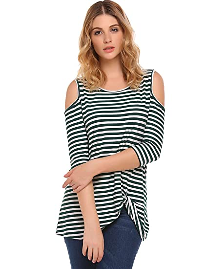 996e5378313f2c Halife Women s Cold Shoulder 3 4 Sleeve Twist Knot Front Blouses Striped  Tshirts at Amazon Women s Clothing store