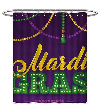 Mardi Gras Shower Curtain Customized Beads Tassels Masquerade Theme Calligraphy Design Fun Print Fabric Bathroom Set