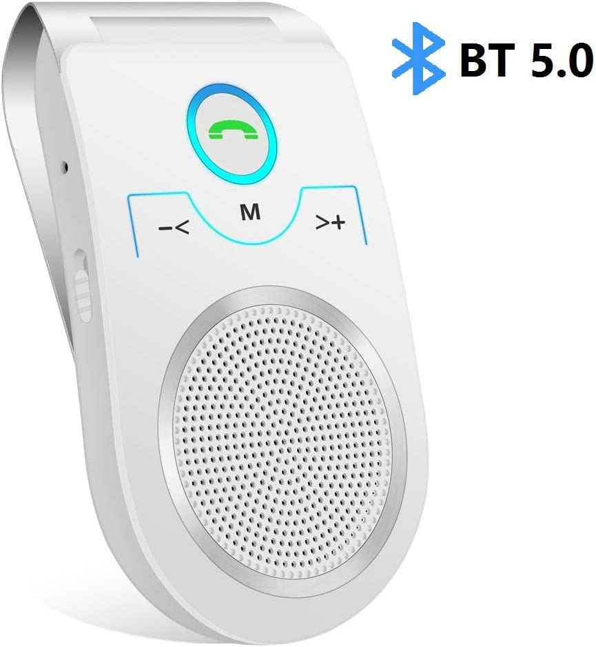 Amazon Com Bluetooth Speakerphone Wireless Car Speaker Aigital Upgraded Bluetooth 5 0 In Car Speaker For Cell Phone Loud And Clear Sound For No Hands Calling Gps Navigation And Music White Home Audio Theater