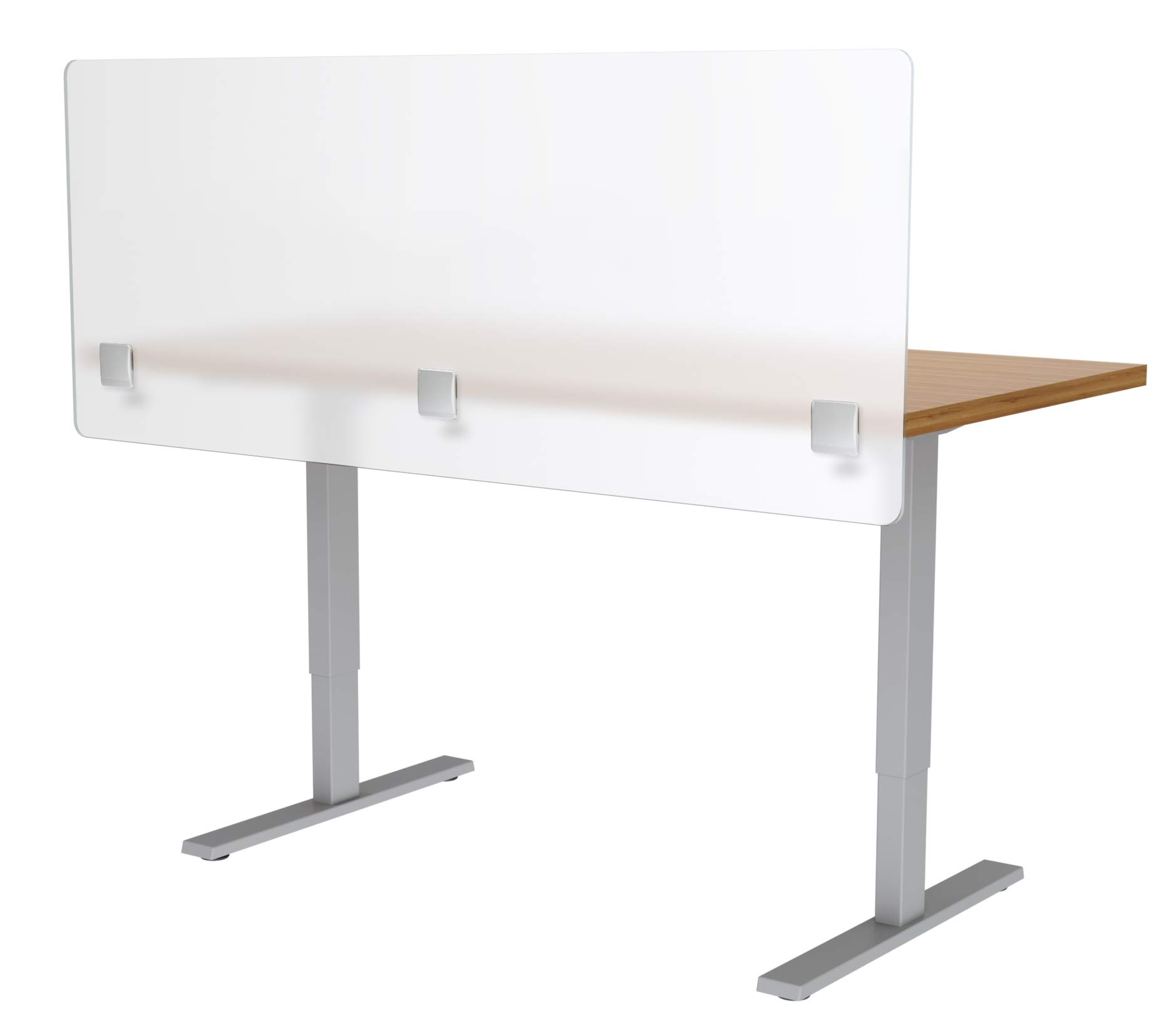 VaRoom Privacy Partition, Frosted Acrylic Clamp-on Desk Divider - 60'' W x 24''H Privacy Desk Mounted Cubicle Panel