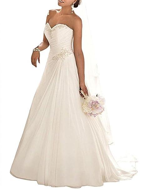 ANJURUISI Apliques de novia de gasa con cuentas vestido de novia sexy vestido de la boda de la playa: Amazon.es: Ropa y accesorios