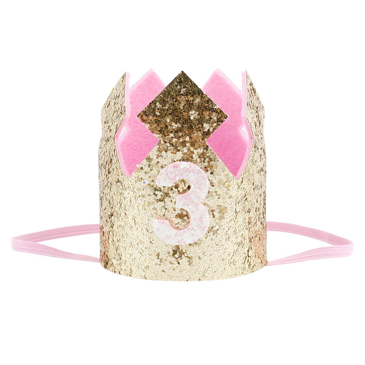 b5025020 Amazon.com : Baby Girls Kids Crown Headband Gold 3rd Birthday Party Hat  Cute Princess Crown Hair Accessories Photo Prop(Gold-pink-3) : Beauty