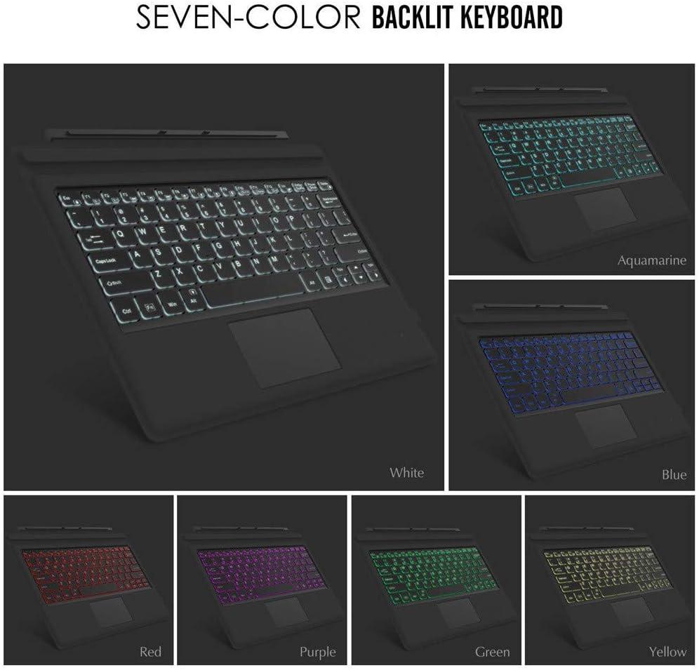 Black Bosji Bluetooth Keyboard Magnetic Adsorption Slim 7-Color LED Backlight Bluetooth Keyboard for Microsoft Surface Go