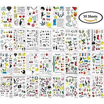 Temporary Tattoos for Kids, 200 Designs, 30 Sheets, 4.5x2.5 inches (A)