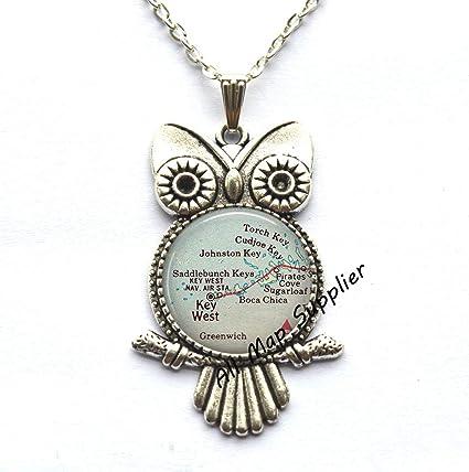 Florida Keys Map.Amazon Com Allmapsupplier Charming Owl Necklace Florida Keys Map