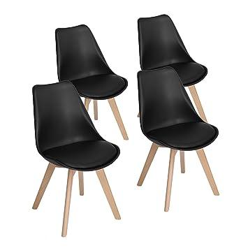 EGGREE Pack de 4 Tulip Sillas de Comedor Sillas Cocina Nórdico con Asiento Tapizado y Las piernas de Madera de Haya Maciza - Negro
