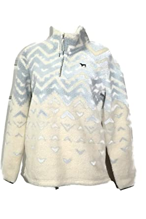 3f5f3504b04 Victoria's Secret PINK Pullover Sherpa Boyfriend Geometric Sweater Half Zip  (Small) at Amazon Women's Clothing store: