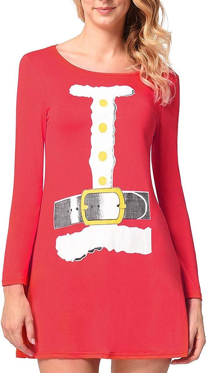 Goosuny Weihnachtskleid Damen Vintage Cocktailkleider Rückenfrei ...