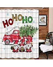 Christmas Shower Curtain for Bathroom, Cute Cartoon Gnome Xmas Red Truck on Rustic Gray Wooden Bathroom Shower Curtain Set, Winter Funny Famhouse Bathroom Accessories Decor,Hooks Included,72x72 Inch