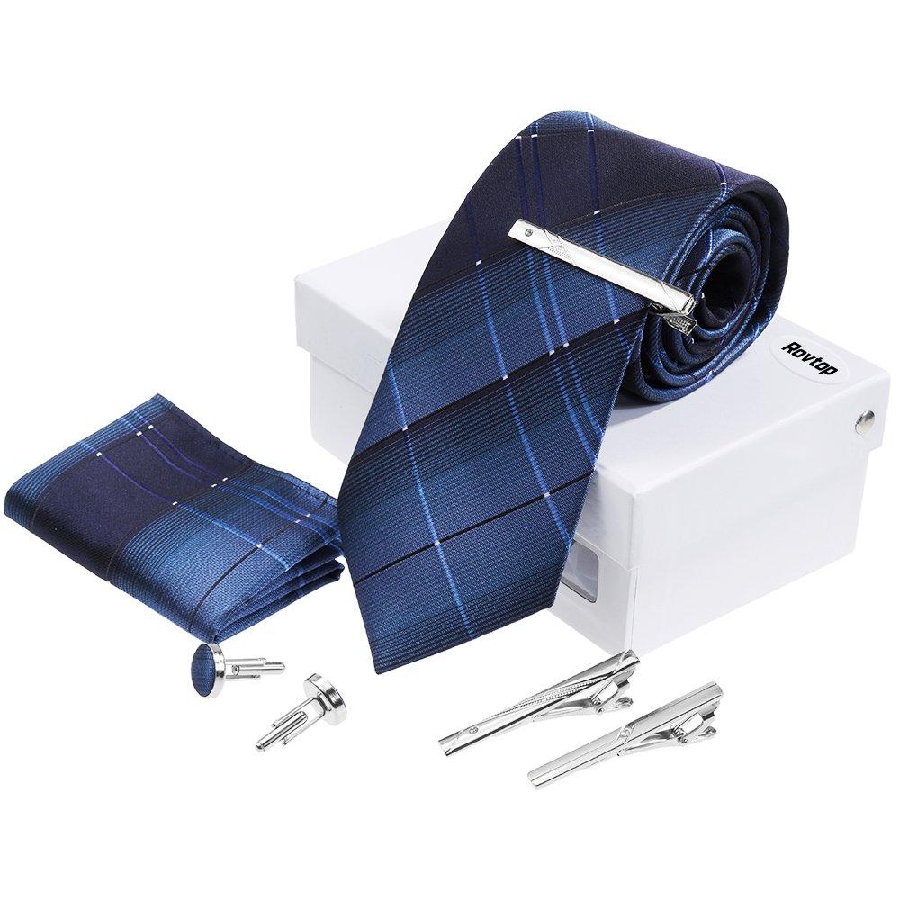 Rovtop Corbatas de Hombre Enrejado Caja Regalo Conjunto Simulación Cosidas a Mano (Azul) product