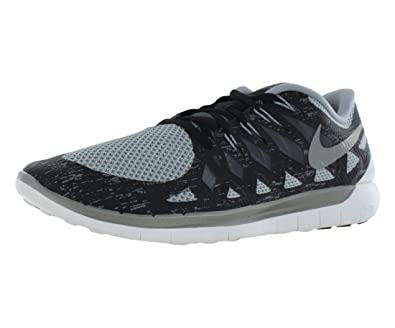 NIKE Free 5.0 Premium Mens Running Shoes - BlackDark GreyMetallic Silver (