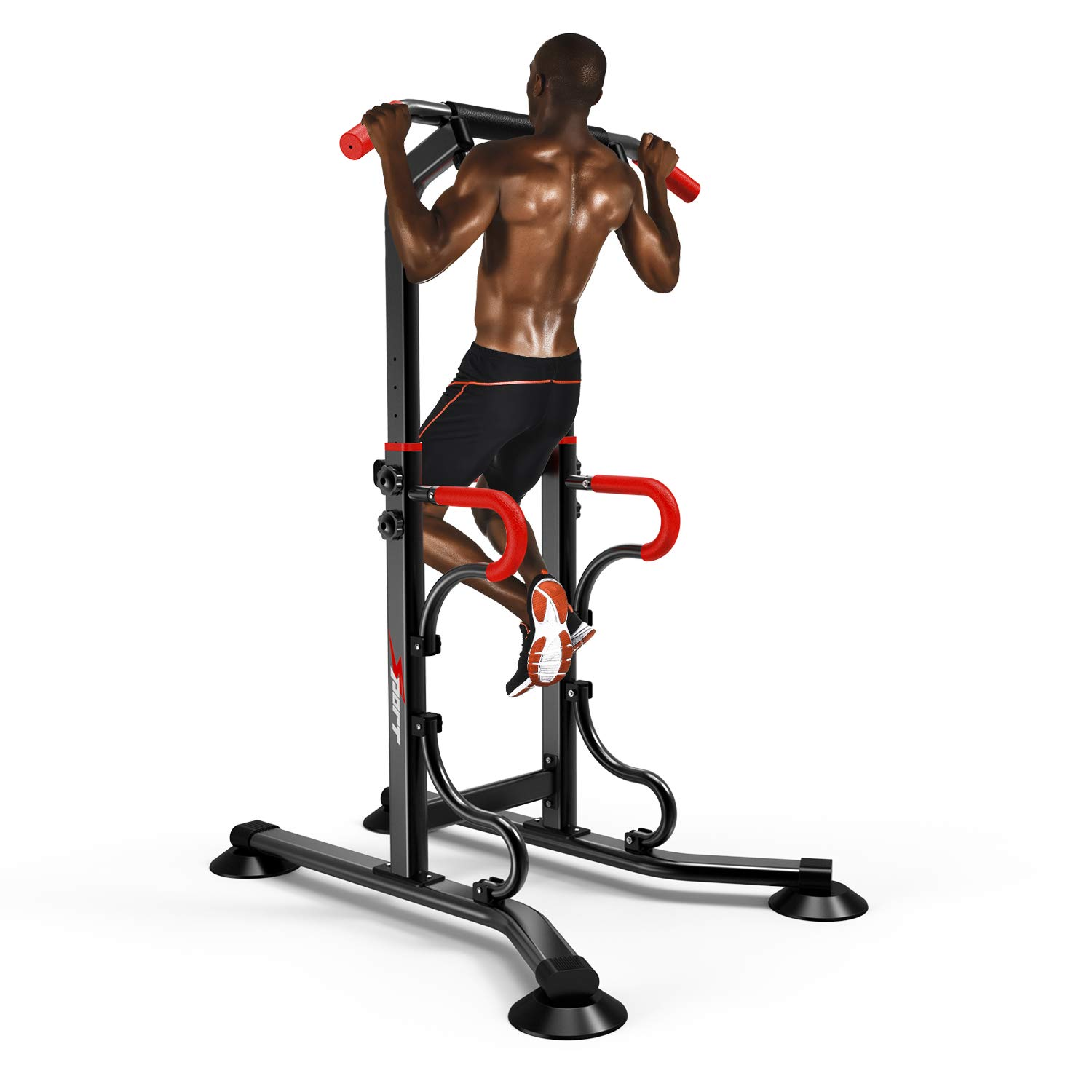 EASY BIG Multifunctional Power Tower Adjustable Heights Pull Up Bar Workout Dip Station for Adults and Kids Home Gym Strength Training Fitness Equipment Newer Version