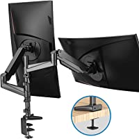 HUANUO Dual Monitor Mount Stand - Aluminum Gas Spring Arm Height Adjustable Monitor Desk Mount VESA Bracket for Two 17 to 32 Inch Flat / Curved LCD Computer Screens with C Clamp, Grommet Base