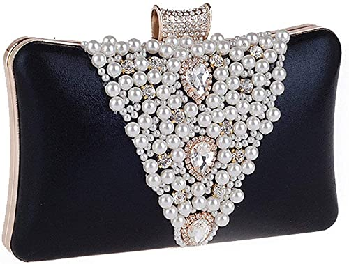 Women Ladies Satin Beads Clutch Purse Bag Wedding Bridal Evening Party Handbag